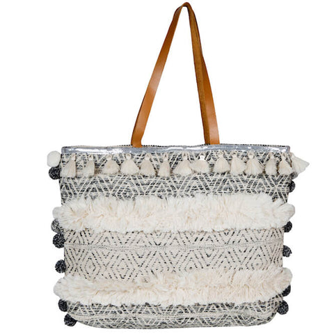 LUXE BOHO GREY DIAMOND MARKET BAG