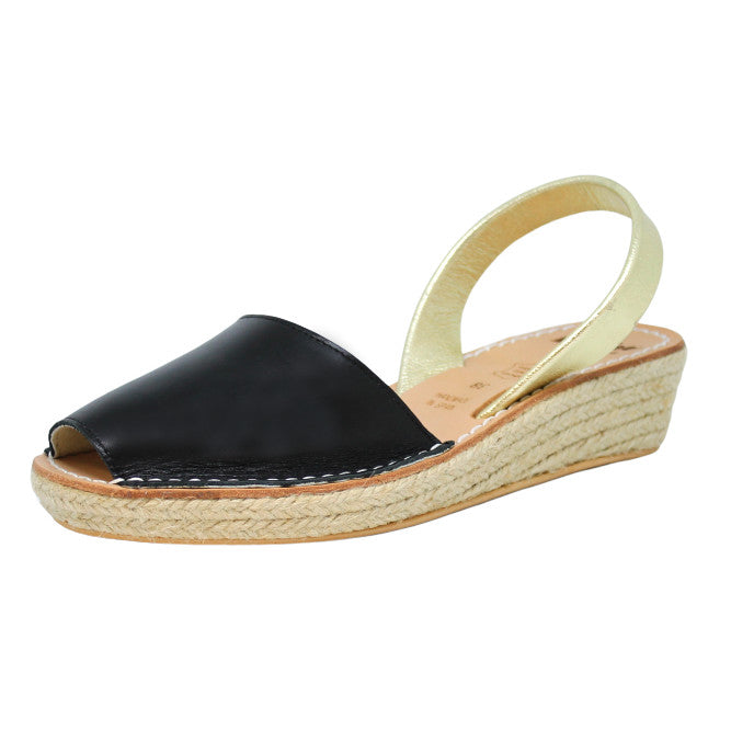 BLACK & GOLD ESPADRILLE WEDGE