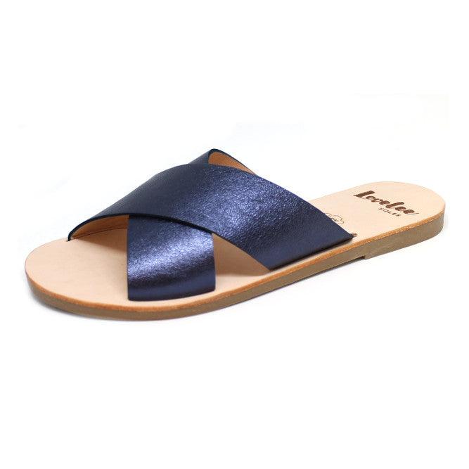 LOVELEE CROSSOVER SLIDE - METALLIC BLUE LAST PAIRS SIZE 38