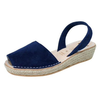 Navy Blue Espadrille Mini Wedge | Lovelee Soles