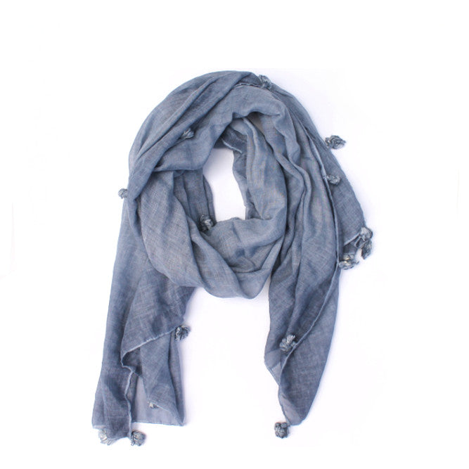 BLUE DENIM TASSEL SCARF