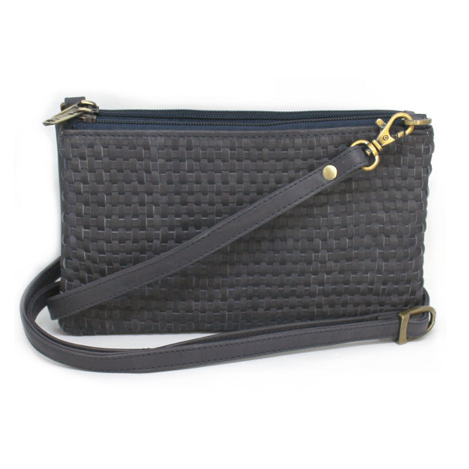 Ink Blue Woven Small Shoulder Bag | Lovelee Soles