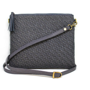 Ink Blue Woven Shoulder Bag | Lovelee Soles