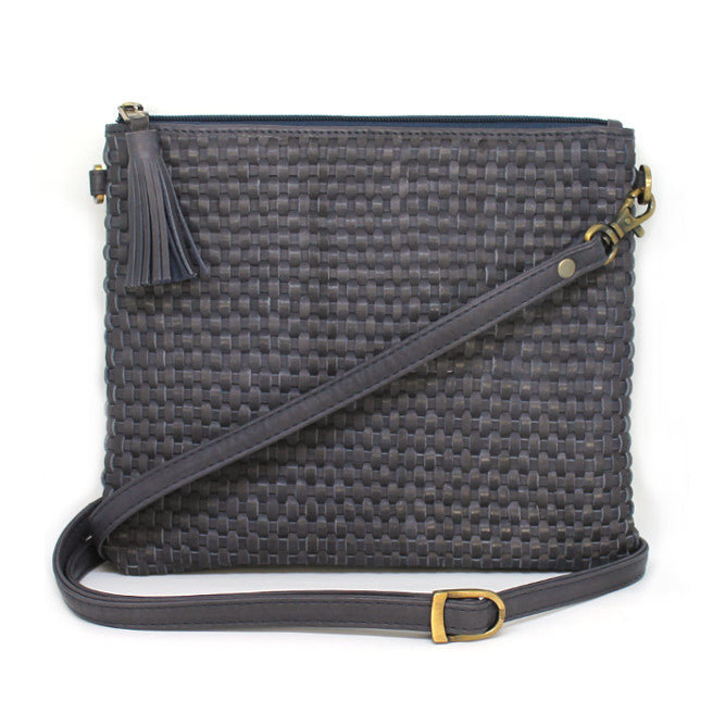 LOVELEE INK BLUE WOVEN SHOULDER BAG