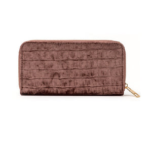 BLUSH SUEDE CROC WALLET