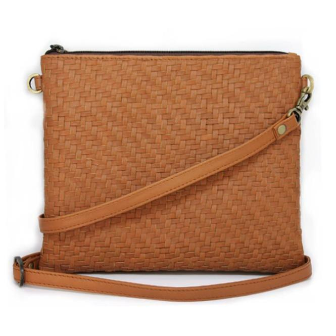 Tan Woven Shoulder Bag | Lovelee Soles