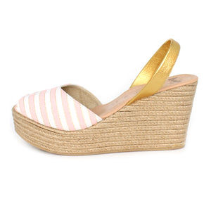 Candy Pink Stripe Rope Wedge | Lovelee Soles