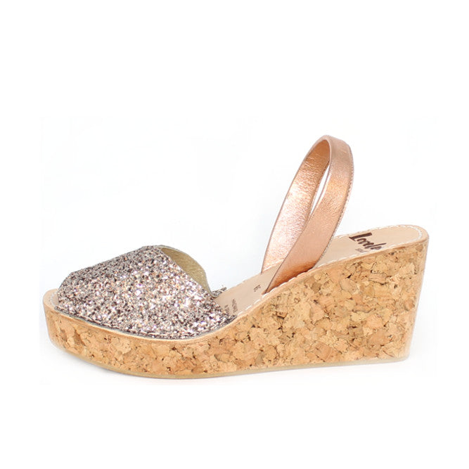 Pink Champagne Glitter Cork Wedge | Lovelee Soles