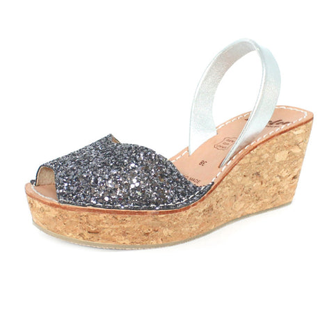 CHARCOAL GLITTER CORK WEDGE - MINOR FLAW SIZE 40
