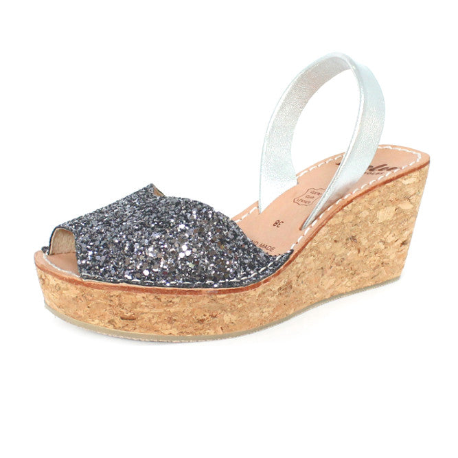 LOVELEE CHARCOAL GLITTER CORK WEDGE