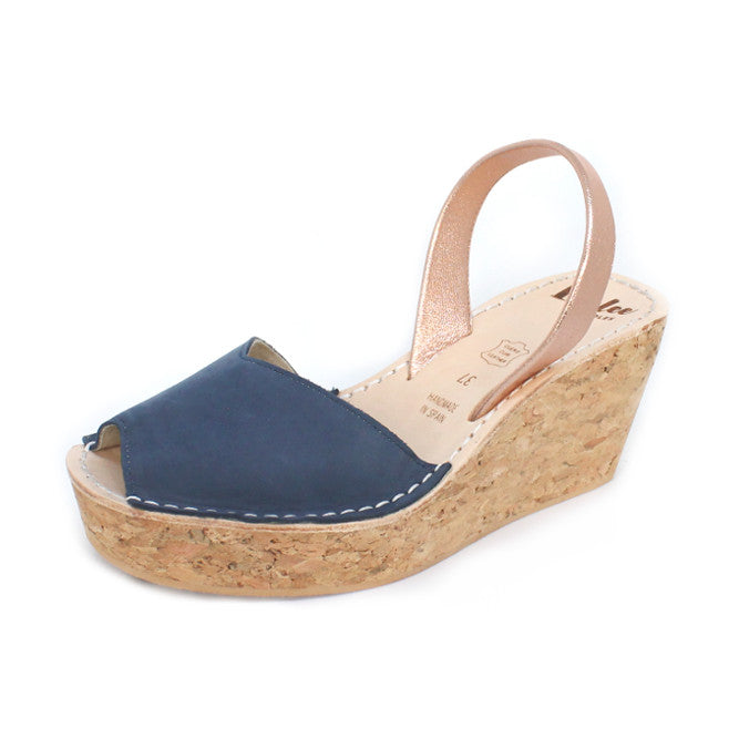 Blue & Rose Gold Cork Wedge | Lovelee Soles