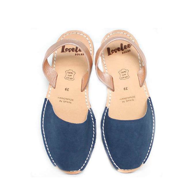 Dusky Blue Nubuck & Rose Gold | Lovelee Soles