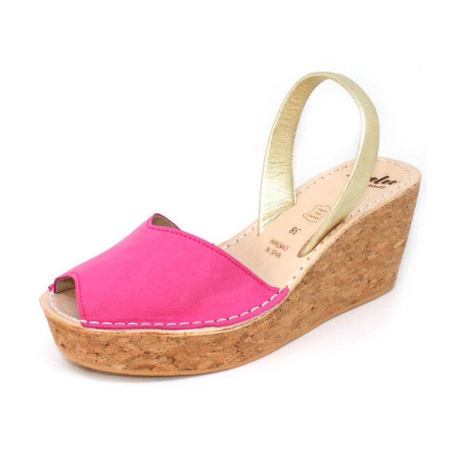 Fuchsia Pink & Gold Cork Wedge | Lovelee Soles