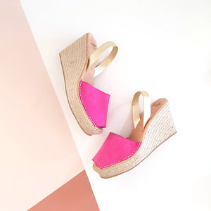 FUCHSIA PINK & GOLD ROPE WEDGE | LOVELEE SOLES