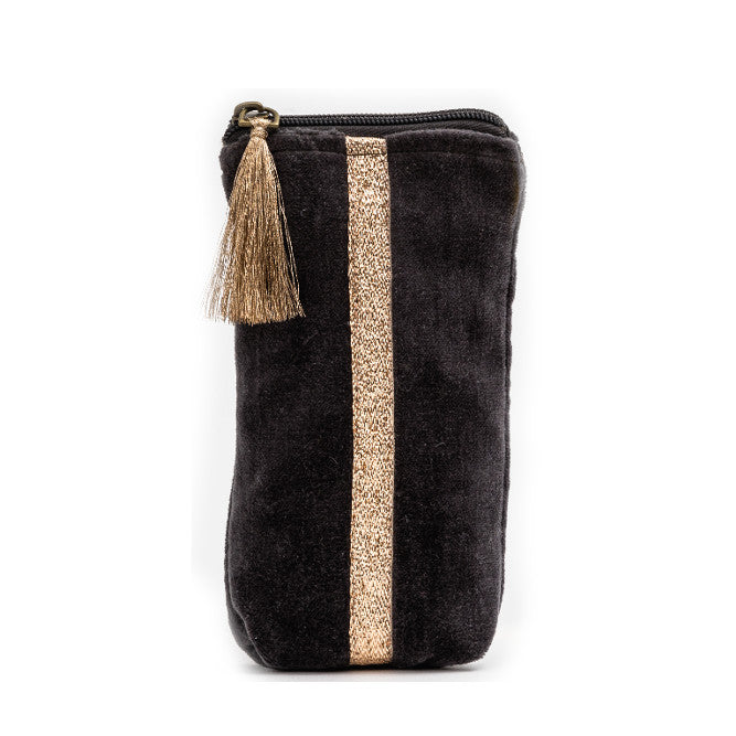 GREY VELVET GLASSES CASE
