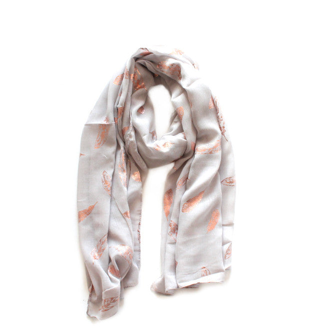 Soft Grey & Rose Gold Feather Scarf | Lovelee Soles