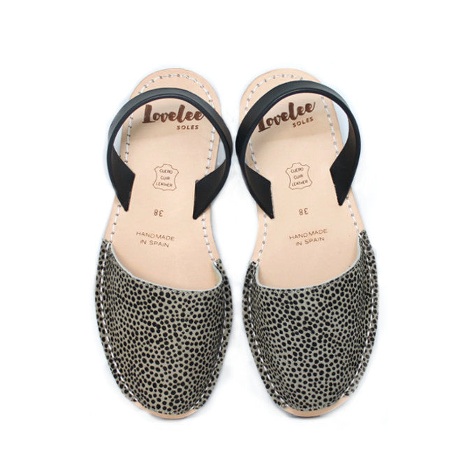 Grey Spot Pony Hair | Lovelee Soles