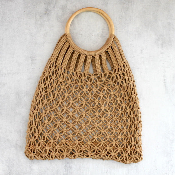 LOVELEE MACRAME TOTE WITH HANDLE - TAN