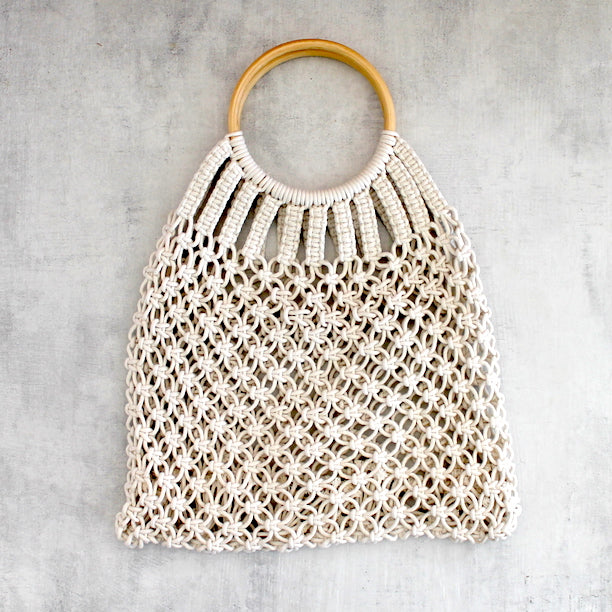 LOVELEE MACRAME TOTE WITH HANDLE - STONE