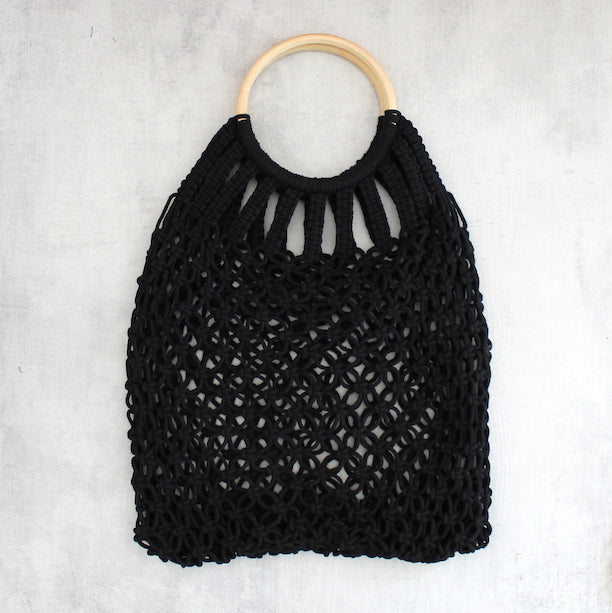 LOVELEE MACRAME TOTE WITH HANDLE - BLACK