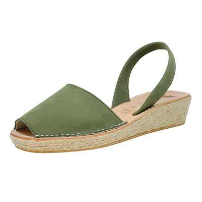 Khaki Olive Mini Rope Espadrille Wedge | Lovelee Soles