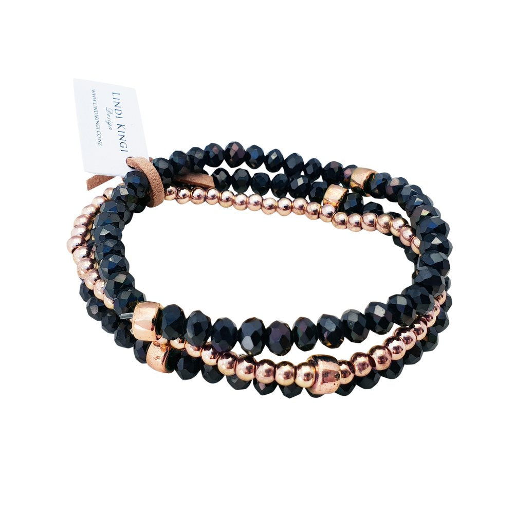 Navy Rose Gold Bracelet Set | Lindi Kingi