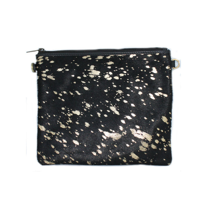 LUXE BLACK GOLD LARGE CLUTCH