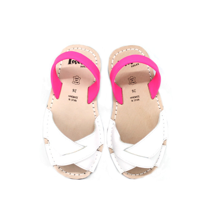 White & Neon Pink | Lil' Lovelee Soles