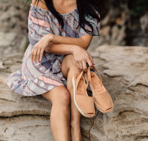 TAN NUBUCK MINI ESPADRILLE WEDGE