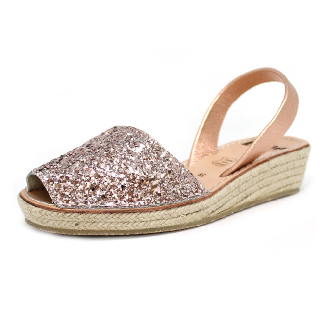 Champagne Glitter Mini Rope Wedge | Lovelee Soles