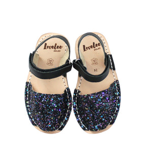 Multi-Black Glitter Lil' Lovelee's | Mini Kids Avarcas