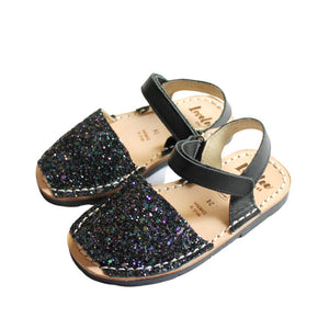 Multi-Black Glitter Lil' Lovelee | Kids Mini Avarca