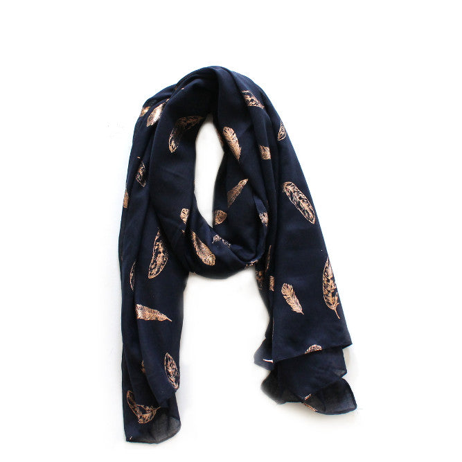 Navy & Rose Gold Feather Scarf | Lovelee Soles