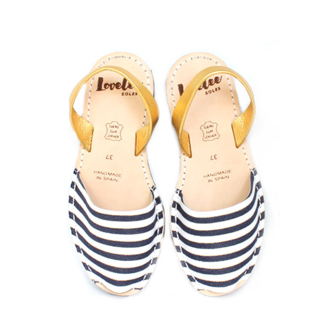 Navy & Gold Stripe | Lovelee Soles