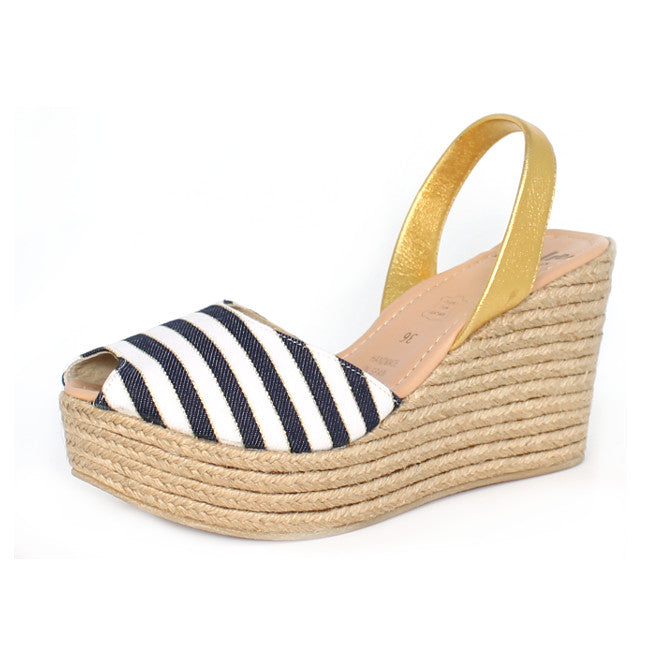 Lovelee Navy Stripe Rope Wedge