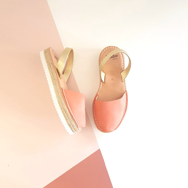 PEACH & GOLD ESPADRILLE SAMPLE - SIZE 38