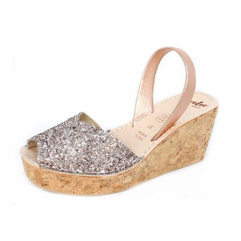 Pink Champagne Glitter Rope Wedge | Lovelee Soles