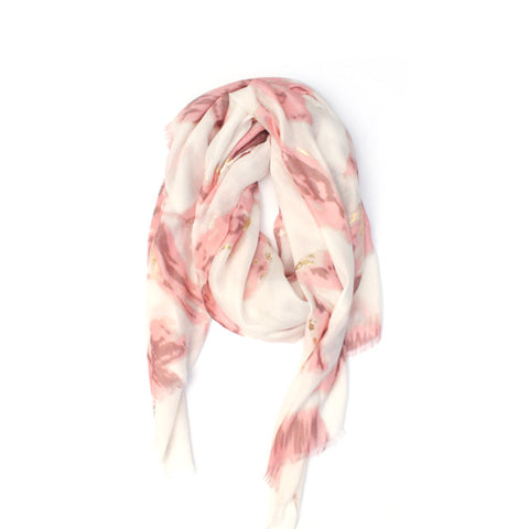 PINK & GOLD FLORAL SCARF