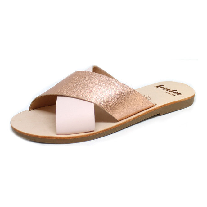 LOVELEE CROSSOVER SLIDE - DUSKY PINK & ROSE GOLD