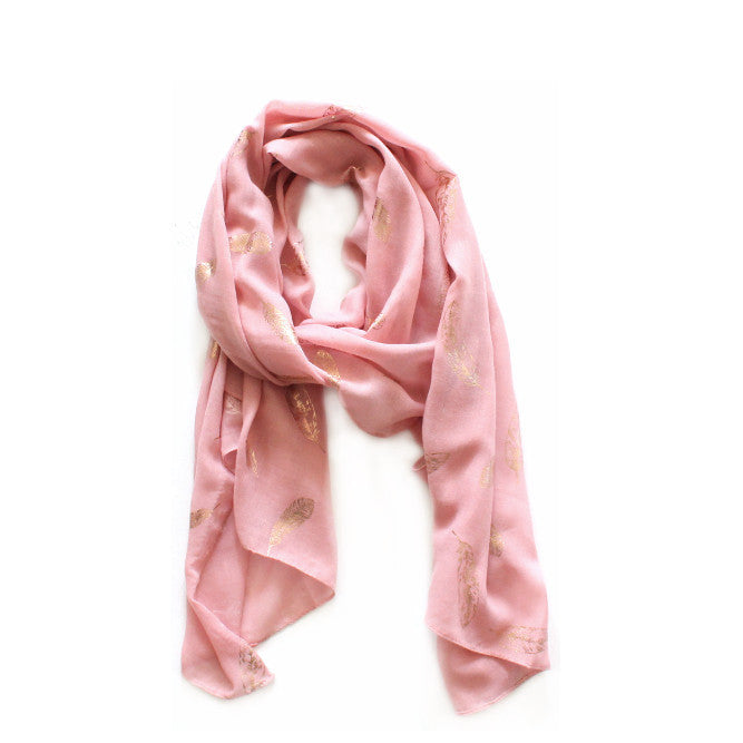 Rose Pink & Rose Gold Feather Scarf | Lovelee Soles