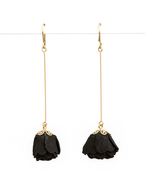 BLACK SUEDE PETAL ON A STICK EARRINGS | Stella + Gemma