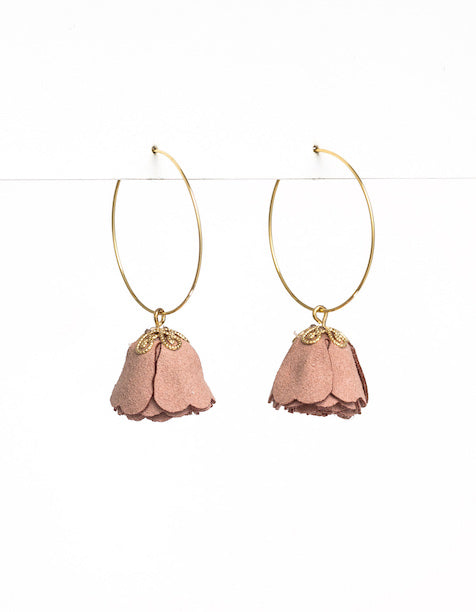 BLUSH SUEDE PETAL EARRINGS | Stella + Gemma