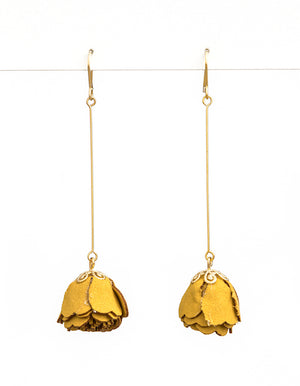 MUSTARD SUEDE PETAL ON A STICK EARRINGS | Stella + Gemma