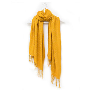 MUSTARD WITH PEARL STUDS SCARF