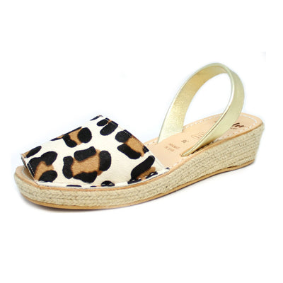 Snow Leopard Mini Espadrille Rope Wedge | Lovelee Soles