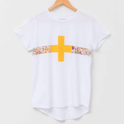 Stella + Gemma White with Floral Band t-shirt | Lovelee Soles