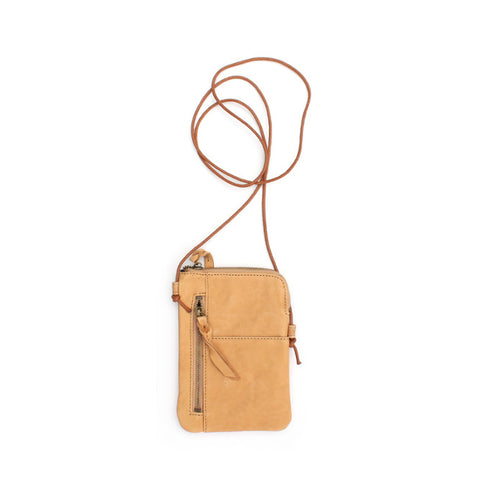 Tan leather crossover bag