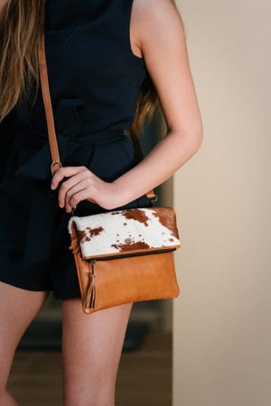 Tan Leather Fold Over Bag