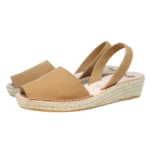 Tan Nubuck Mini Rope Espadrille Wedge | Lovelee Soles