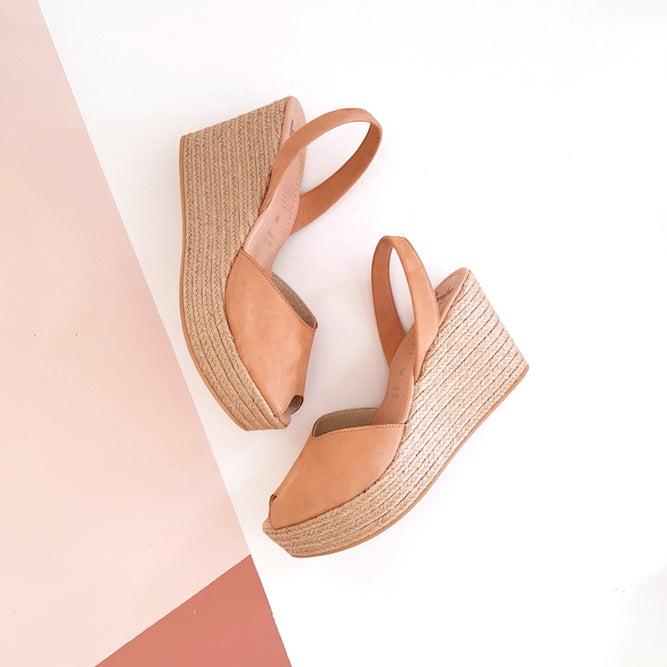 Tan Nubuck Rope Wedge | Lovelee Soles